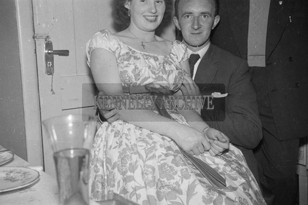 August 1957; Celine Horan and Derry O'Rourke at a party in Horan's House in Boherbee, Tralee.
