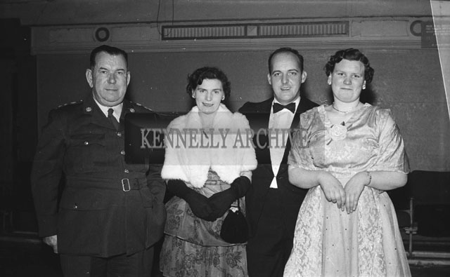 6th February 1957; A photo taken at the Garda Dress Dance in Tralee. The dinner was in the CYMS hall and catering was provided by the Brass Rail restaurant. The dance was in the Ashe Hall. Music was by The Del Rio Dance Band.
