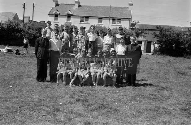 June 1957; A group of Irish students and Christian Brothers pose for the camera in Ballingeary Irish College.
