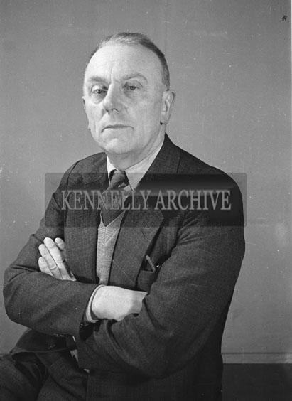 February 1957; A studio photo of Fianna Fail Dail candidate Dan Mahoney.