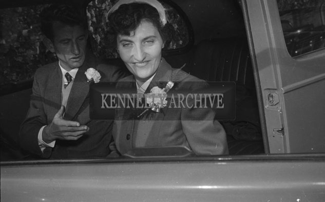September 1957; A photo of a bride and groom on their wedding day outside the Meadowlands Hotel, Tralee.