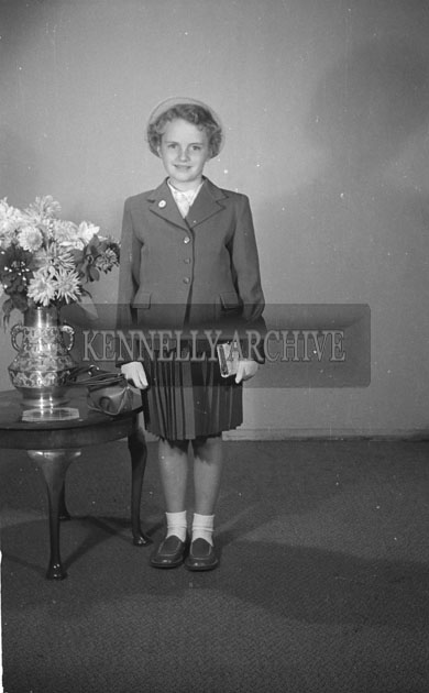 September 1957; A Confirmation studio photo of Miss Horan, Ballyheigue.
