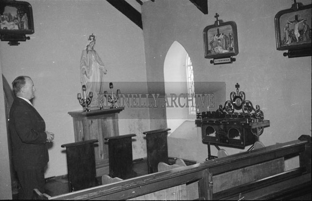 September 1957; County Secretary Kevin O'Hehir in The Church of the Immaculate Conception (St. Catherine's), Tralee on the day of his twins birth.
