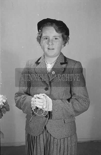 15th September 1957; A studio confirmation photo of Miss O'Sullivan.
