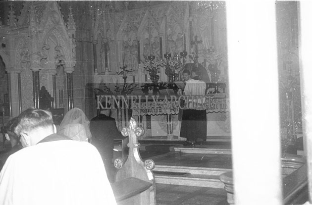 September 1957; A photo taken at the Wedding of Thomas Ashe, Dingle, in the Cathedral, Killarney.