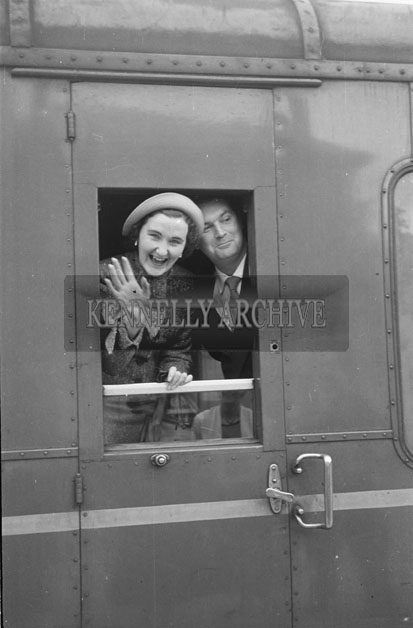 September 1957; A photo taken in Killarney Train Station as Mr. and Mrs. Thomas Ashe, Dingle, leave for their honeymoon.