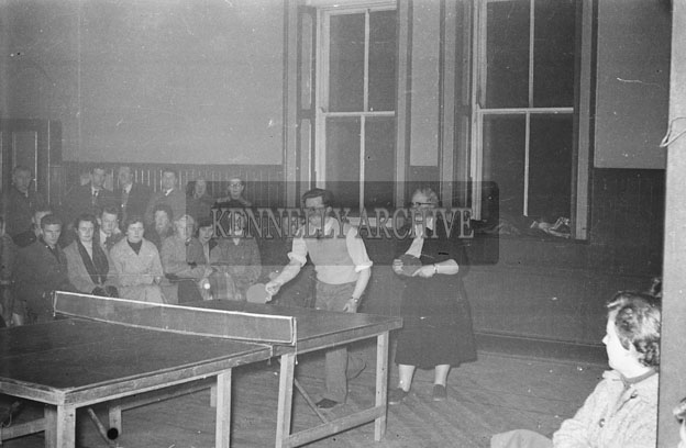 February 1957; A photo of a table tennis tournament.