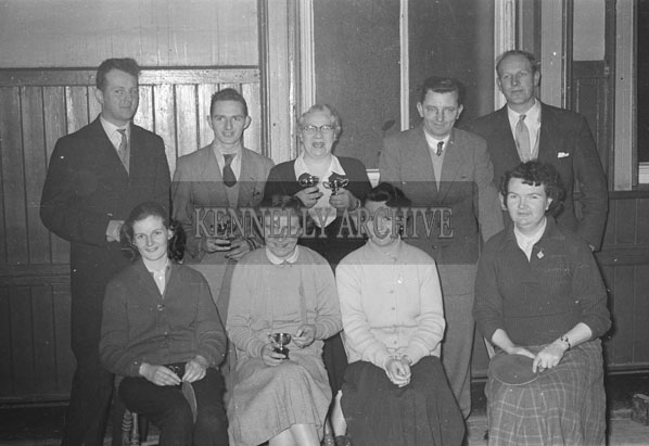 February 1957; A photo of the prize winners after a table tennis tournament. Ted Kennelly is standing second from left.