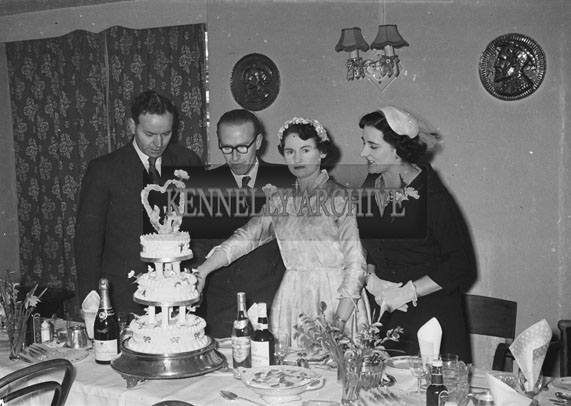 February 1957; A photo of a wedding reception in The Meadowlands Hotel, Tralee.