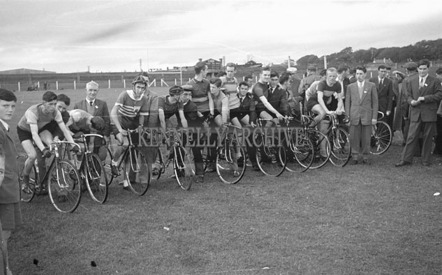 22nd September 1957; The cycle race at Kerry's Day Out sports day in Austin Stack Park, Tralee.