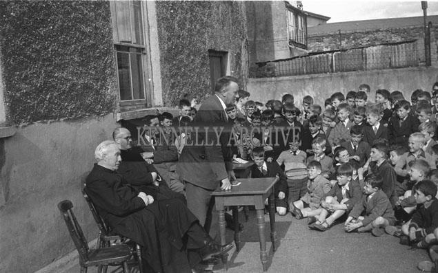 September 1957; A photo taken at the retirement of National Teacher 'Tall' O'Brien in Edward Street CBS.