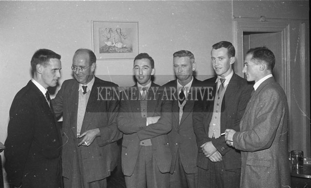 September 1957; A photo taken at a farewell party in the Grand Hotel Tralee, for runner Tom Riordan (left), who won a scholarship to study in the U.S.A.