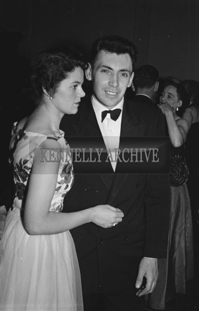5th March 1957; Mr and Mrs John Dowling enjoying themselves at The TCLS (Tralee) Dress Dance in The Lake Hotel, Killarney.