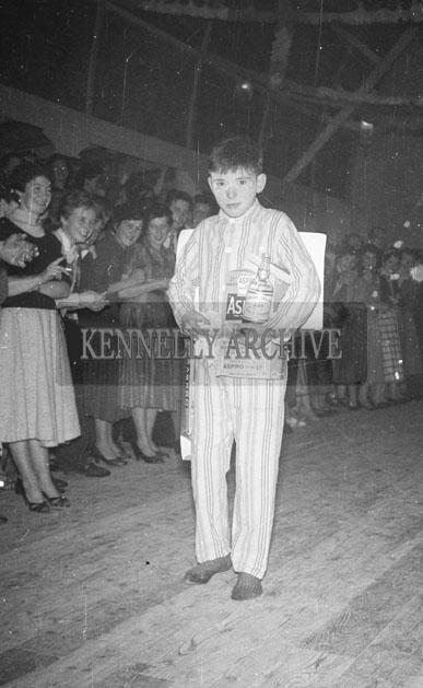 October 1957; People in fancy dress at the Castleisland Carnival Fancy Dress Dance.