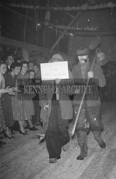 October 1957; A man in fancy dress at the Castleisland Carnival  Fancy Dress Dance.