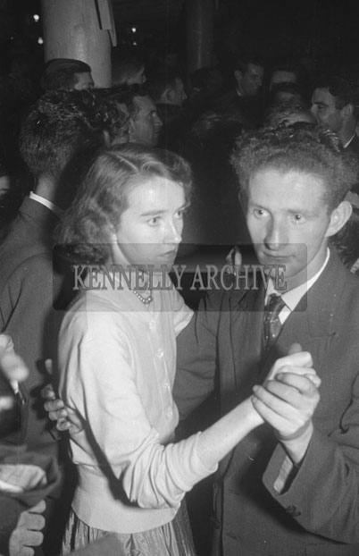 October 1957; A photo of people enjoying themselves at the Castleisland Carnival Fancy Dress Dance.