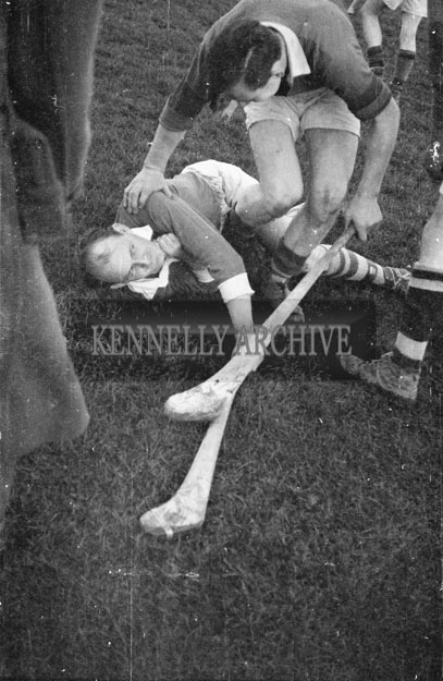 10th November 1957; A photo of the action in the Senior County Hurling final when Ballyduff beat Crotta 5-5 to 2-0.