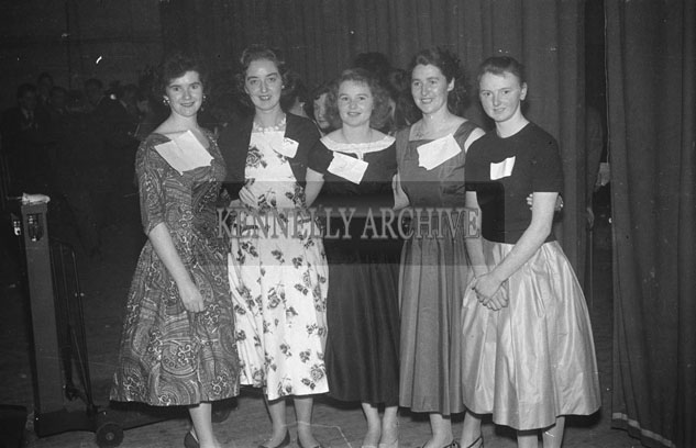 22nd November 1957; A group of women pose for the camera at the Distributive Workers Union Dance.