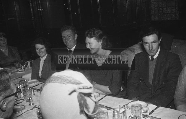 November 1957; Wedding guests enjoying themselves at a wedding breakfast in the Grand Hotel, Tralee.