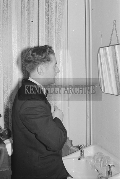 5th March 1957; A photo of a man at The TCLS (Tralee) Dress Dance in The Lake Hotel, Killarney.