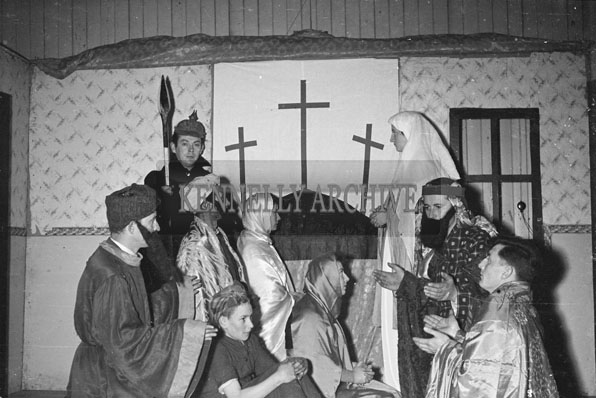March 1957; A photo of The Spa Drama Group performing a passion play.