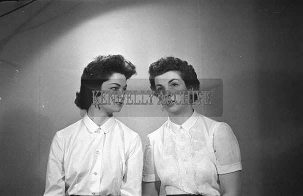 March 1957; A photo of two women, taken in the studio.