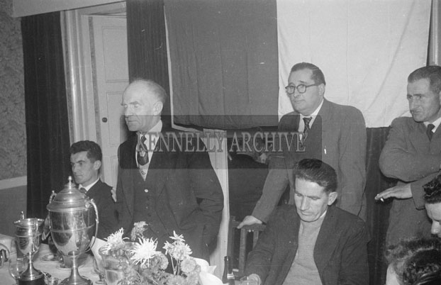 December 1957; People enjoying themselves at the Kerins O'Rahillys Dance to celebrate winning the Senior County Football Championship in the Meadowlands Hotel, Tralee. Included in the photo: Paddy Paul Fitzgerald and John Kissane.