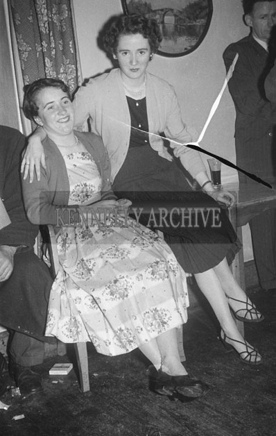December 1957; Women enjoying themselves at the Kerins O'Rahillys Dance to celebrate winning the Senior County Football Championship in the Meadowlands Hotel, Tralee.