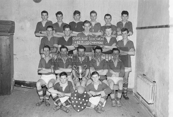 December 1957; County Football Champions Listowel Technical School Team with their Trophies.