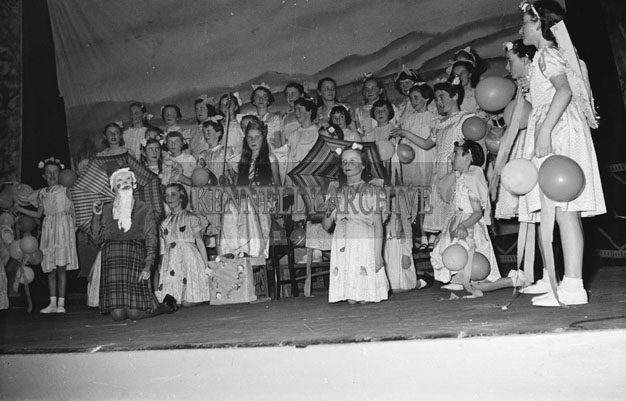 17th March 1957; A photo of students from Presentation School performing in the St. Patrick's Night Concert in the Ashe Hall, Tralee.