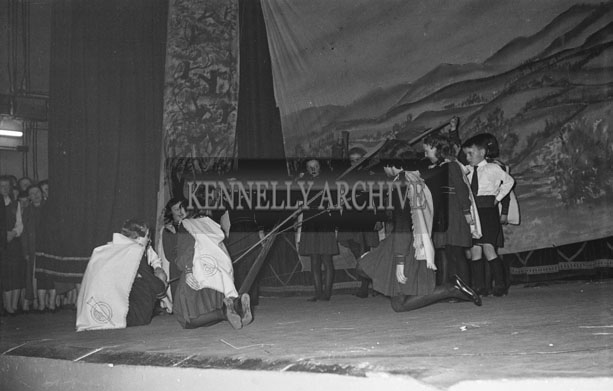 17th March 1957; A Photo of Irish Dancers from The Gould School of Dance performing in the St. Patrick's Night Concert in the Ashe Hall, Tralee.