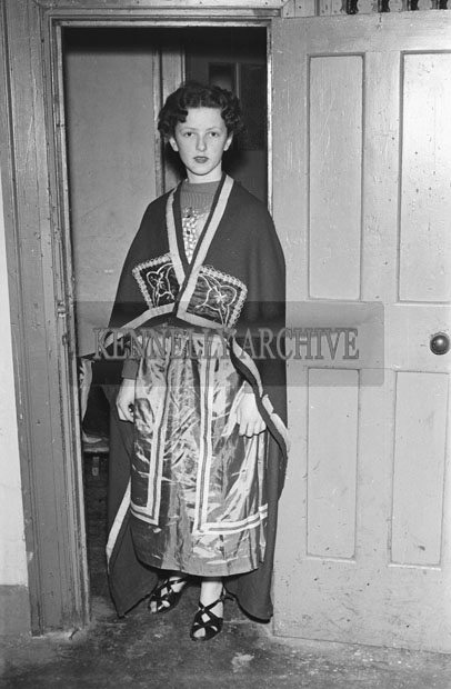 17th March 1957; A Photo of a student from Balloonagh School performing in the St. Patrick's Night Concert in the Ashe Hall, Tralee.
