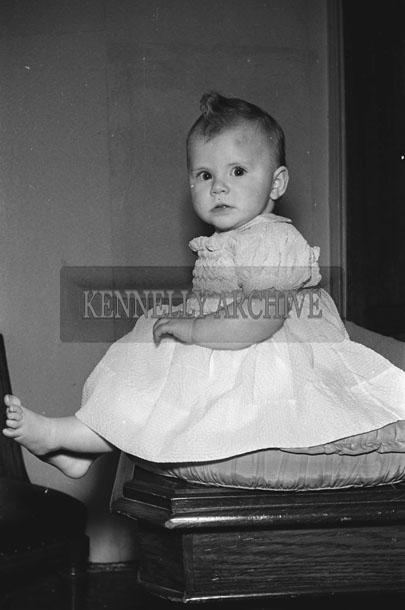 March 1957; A studio photo of a baby.