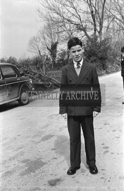 May 1957; A photo of a boy taken on confirmation day in Currow.