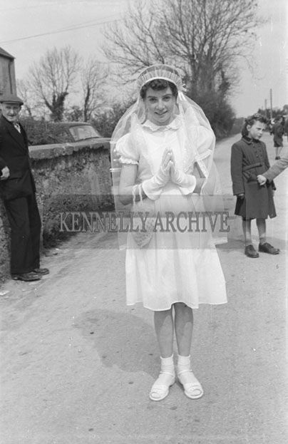 May 1957; A photo of a girl taken on confirmation day in Currow.
