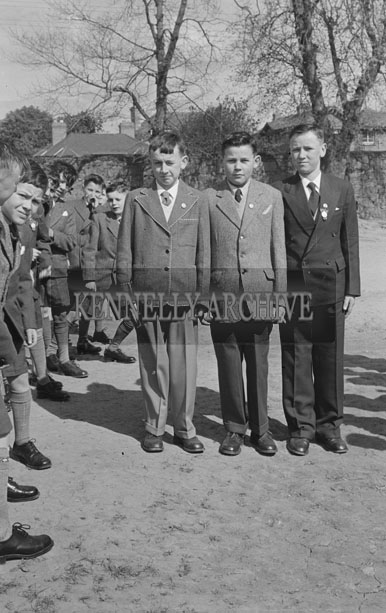 May 1957; A photo of a group of boys on their Confirmation Day in Listowel.