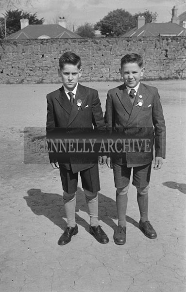 May 1957; A photo of two boys on their Confirmation Day in Listowel.