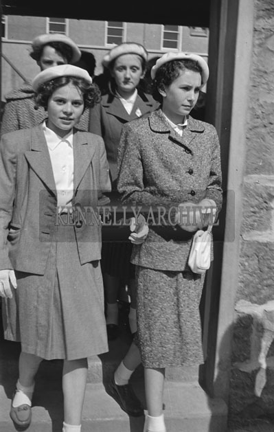 May 1957; A photo of a girl's procession on their Confirmation Day in Listowel.
