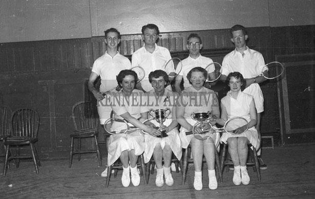 17th May 1957; Badminton players with their prizes after a Tournament in the KPH, Ashe Street, Tralee.