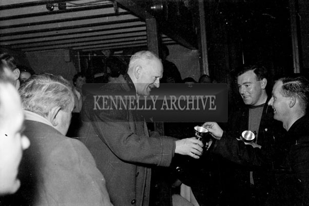 17th May 1957; A photo of the prize presentation after a Badminton Tournament in the KPH, Ashe Street, Tralee.