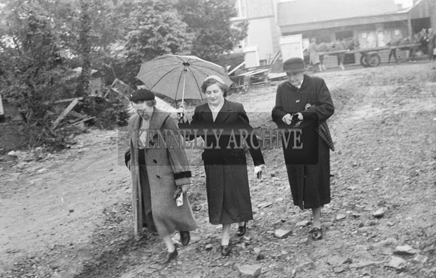15th April 1957; Parishioners arrive at the newly renovated Church of St. Brendan, Cloghers, Ballymacelligott for the blessing ceremony by Bishop Moynihan.