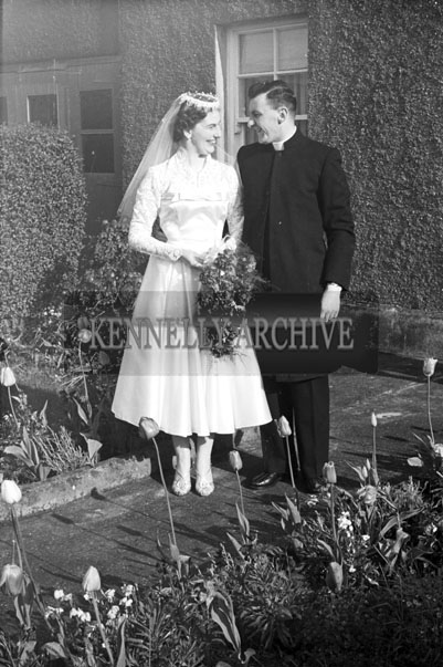 April 1957; A Photo taken outside Miss Florrie Johnson's home in Castlecountess before her marriage to Mr. Robinson in The Church of the Immaculate Conception, Tralee.