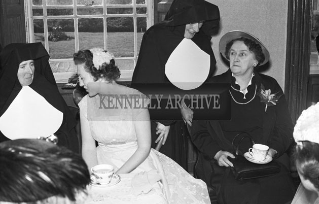 April 1957; A photo taken at the convent in Castleisland after Ulick O'Sullivan's wedding.