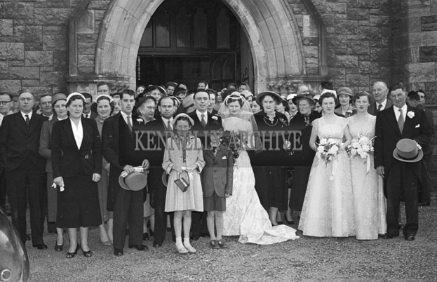April 1957; A photo taken at Ulick O'Sullivan's wedding in Castleisland Church.