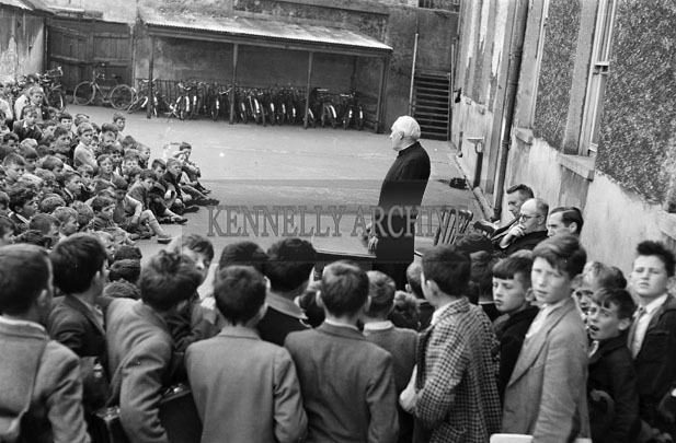 September 1957; A photo taken at Edward Street CBS. Present are Brother Brennan and Brother Healy.
