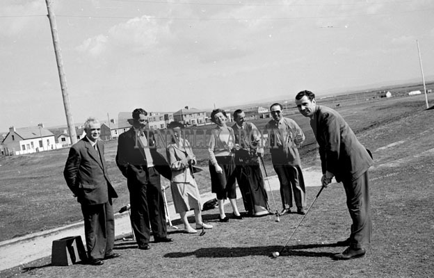 May 1957; A group of people pose for the camera in Ballybunion Golf Club.