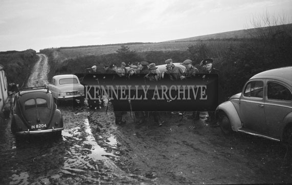 16th November 1958; A photo taken during the search for the missing local Mossie Moore. The search continued for eight days until the body of the 46 year old farmer was found in a stream near his home in Raemore.