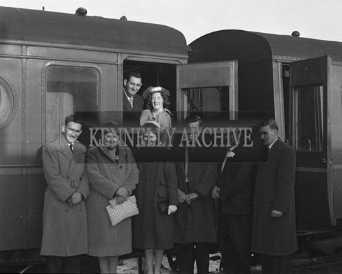 January 1962; A couple board the train for their honeymoon after the wedding reception which took place at the Grand Hotel in Tralee.