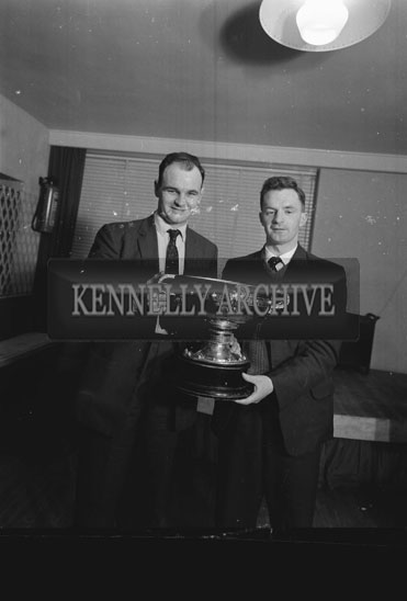 15th January 1962; Niall Sheehy (left) at the Victory Banquet for the Kerry Junior Hurling Team who were presented with the All-Ireland Hurling Trophy at the Meadowlands Hotel in Tralee.