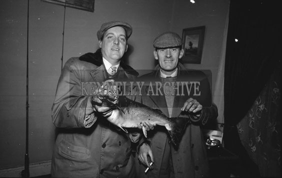 January 1962; Mr Donal O'Regan and Mr Gaffney pose for the camera with the first Salmon of the Season.